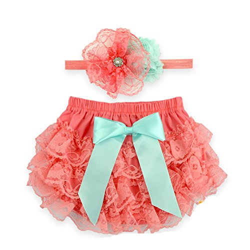 Baby Girl Diaper Cover - Toptim Baby Girl's Bloomer + Headband Set Lace Diaper Covers (0-6 Months, Coral)