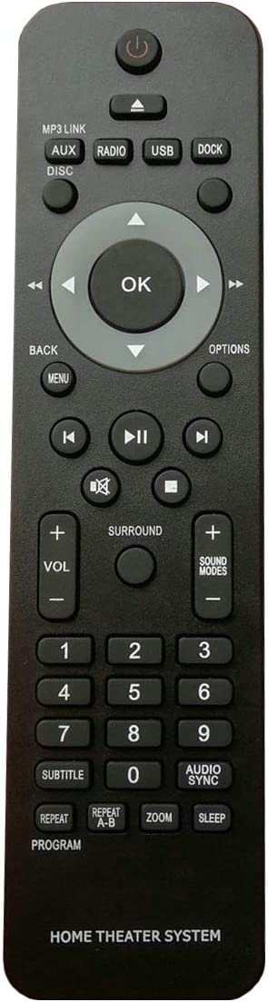 PROROK Remote Control HTS3172 Compatible for Philips Home Theater System Receiver HTS1221 HTS3021 HTS3100 HTS3101 HTS3181 HTS3193 HTS3276 HTS3293 HTS3366 HTS3510 HTS3548 HTS3568