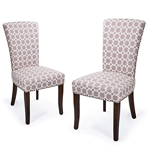 Home's Arts Villa Dining Chairs Nailhead Trims with Espresso Wood Legs (2, Lignt brown) Review
