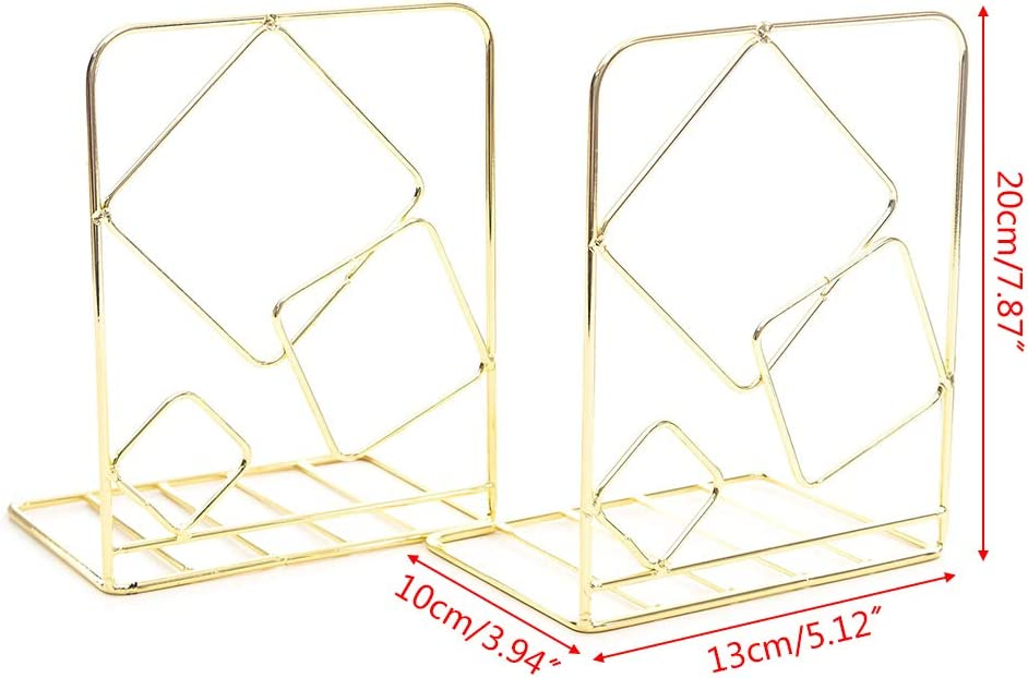 HavanaYZ 2 unidades Soporte de metal cuadrado para libros soporte para sujetalibros de escritorio dorado