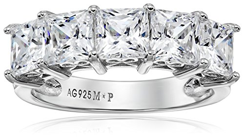 Platinum-Plated Sterling Silver Princess-Cut 5-Stone Ring made with Swarovski Zirconia (3 cttw), Size 6