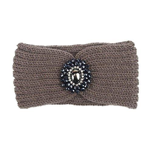 Women Head Wrap Soft Hair Band Lady Rhinestone Headwear Turban Twist Headband (Coffee) - 2