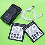 High Capacity Samsung J7 Battery Kit[2Batteries+1Charger] 3900mAh Spare Li-ion Grade A Extended Slim Batteries + Universal Charger + Micro USB Sync Cable For Net10 Samsung Galaxy J7 LTE J700M