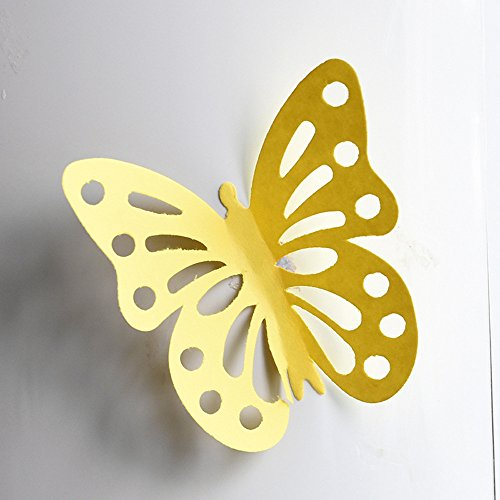 LTUISimulation 3d stereo butterfly wall stickers living room bedroom room bedside wall decorations dormitory stickers refrigerator (small) (E)