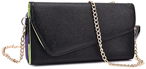 Kroo Clutch Wallet with Wristlet and Crossbody Strap for Smartphones or Phablets up to 5.7 Inch - Carrying Case - Frustration-Free Packaging - Black and Purple