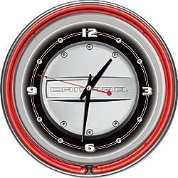 Chevrolet Camaro Chrome Double Ring Neon Clock, 14
