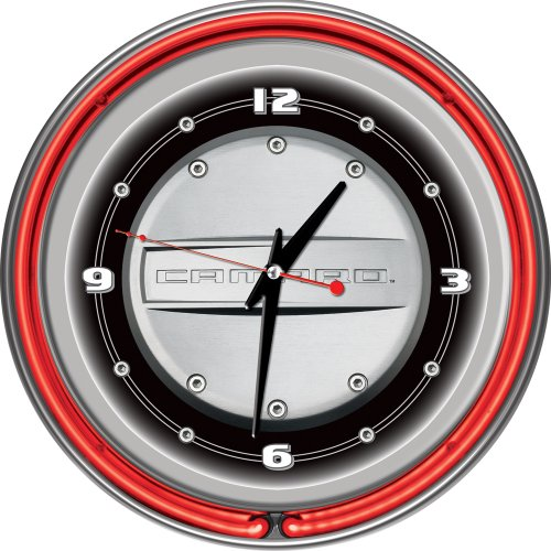 Clock Neon Camaro (Chevrolet Camaro Chrome Double Ring Neon Clock, 14