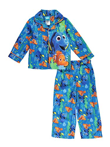 Flannel Coat Style Pajamas - Finding Dory Nemo Little Boys Flannel Coat Style Pajamas (2T, Ocean Blue)