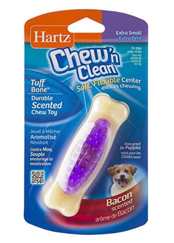 Hartz Chew 'n Clean Tuff Bone Bacon Scented Dental Dog Chew Toy - Extra Small (Tuff Peanut Butter)