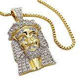 18K Gold Plated MINI JESUS PIECE Iced Out Pendant with 1.5MM BOX CHAIN
