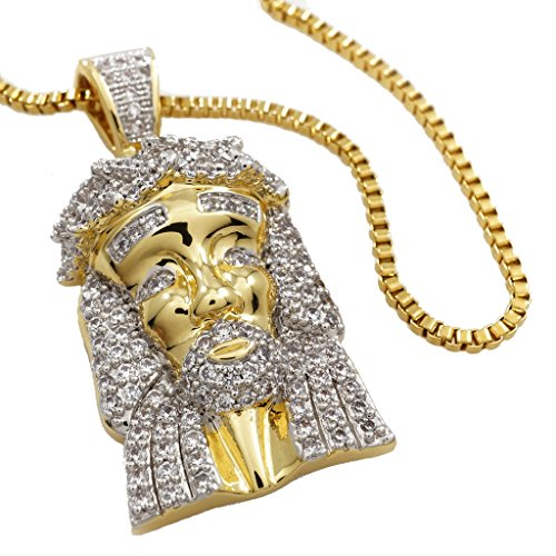 NIV'S BLING - 18k Yellow Gold-Plated Cubic Zirconia Jesus Piece with Rope Chain - 30 ()