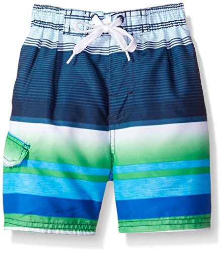 Kanu Surf Little Boys' Victor Stripe Quick Dry Beach Board Shorts Swim Trunk, Navy/Green, Large - Kids Victor
