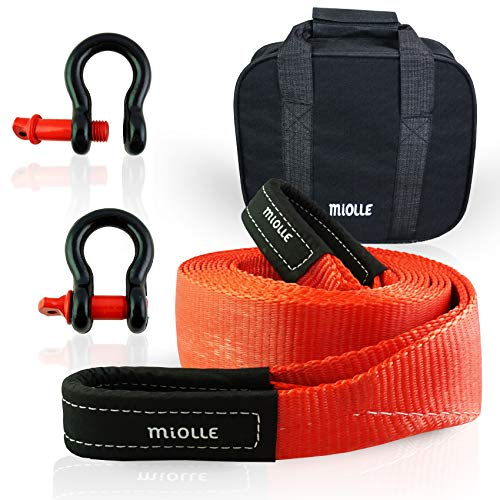 """Miolle Tow Strap 3""""x20' (30000lb) with Loops and D-Hook Shackles"""