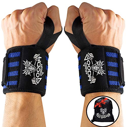 Gooda Grip Wrist Wraps – Durable Lifting Wraps for Wrists with Thumb Loops for Men and Women, 1 Pair – Superior Weightlifting Wrist Support and Protection for Crossfit Workout, Gym, More