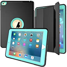 iPad Case, Jollyfit Heavy Duty Full Body 3-Layer Rugged Hybrid Stand iPad Case with Magnetic Smart Auto Wake / Sleep PU Leather Protective Cover for Apple (iPad Air 2, Black/Skyblue)
