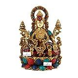 CraftVatika Lakshmi Brass Statue- Lakshmi Laxmi Hindu Goddess of Good Fortune and Wealth - Symbol of Beauty, Love and Grace