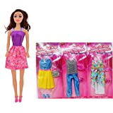 "American Fashion Dolls, 11"" with different clothes. Introduce them to your Barbie collection. Great favors for Birthday Party gifts 1 DOLL and 3 OUTFIT BUNDLE"