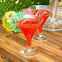 12 copas de Martini desechables de plástico transparente