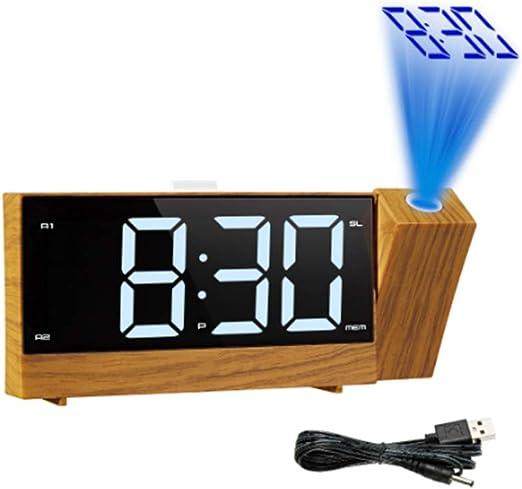 Reloj despertador de proyección USB grandes habitaciones reloj ...