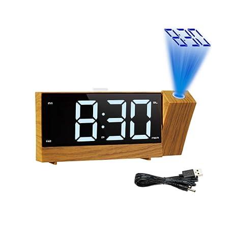 AWJ Reloj despertador de proyección USB grandes habitaciones ...
