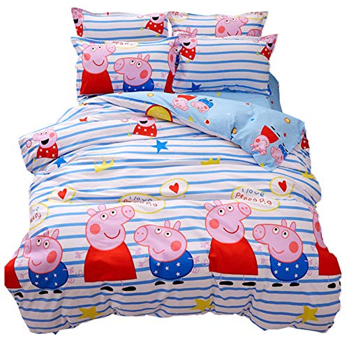(HOLY HOME Peppa Pig Duvet Cover Set Twin Size70 x86 inches Sea Blue)