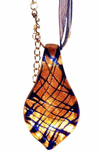 Hand Blown Venetian Murano Glass Heart Pendant Necklace -Droplets (Heart Venetian Necklace)