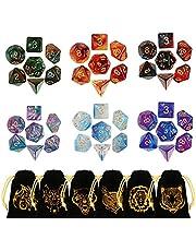 GWHOLE Polyedrische dobbelstenen, 42 stuks, glinsterend met zakken, dubbele kleuren, polyedrische speelkubus voor Dungeons en Dragons DND RPG MTG W20 W12 W10 W8 W6 W4, tafelkaartspellen