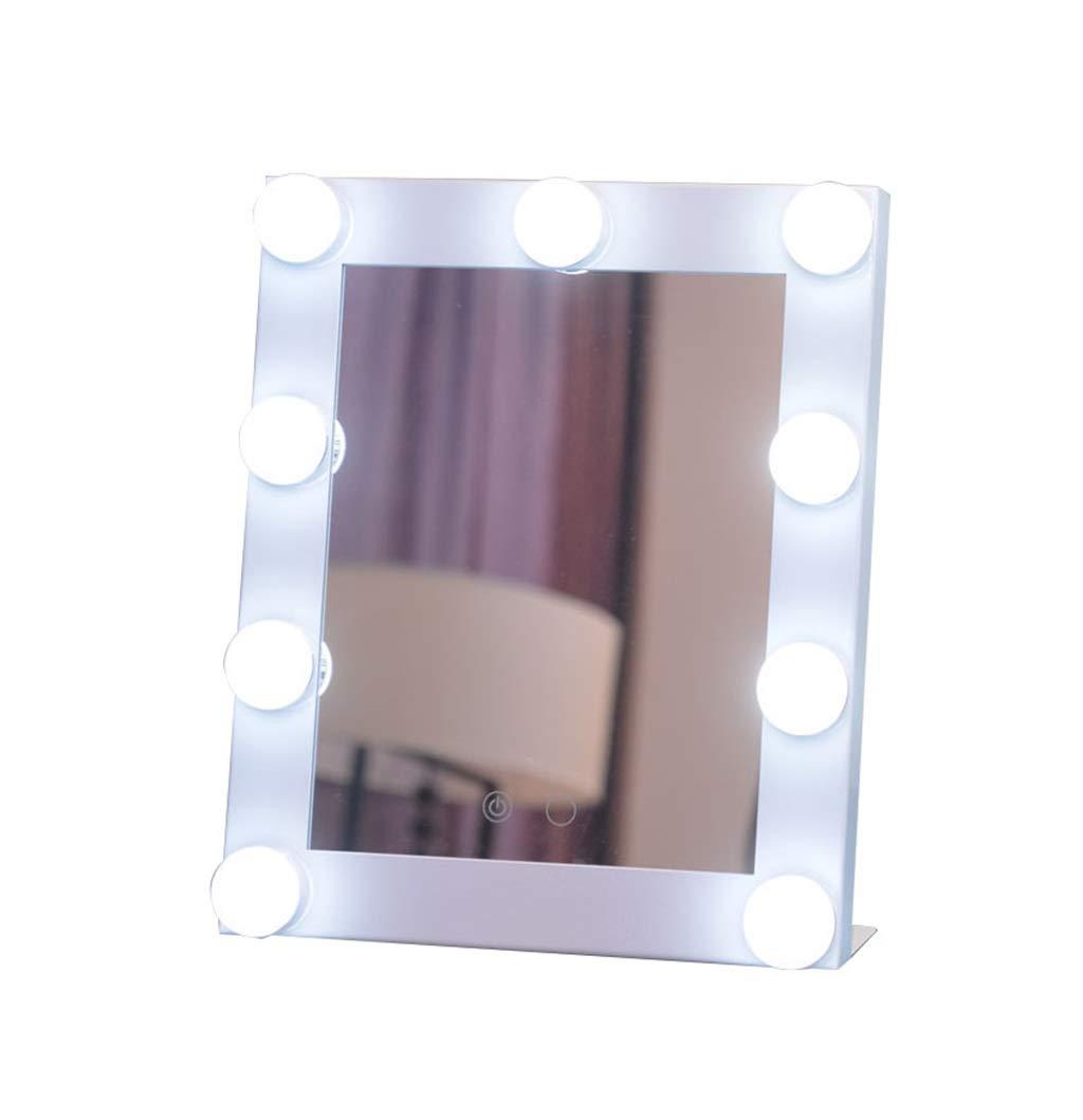 Vanité Miroir Maquillage Lumineux avec 9 LED luminaires Kit éclairé peut Éclairage courtoisie Miroirs pour des coiffeuses Style de Hollywood (Couleur : Blanc) LH-Miroirs
