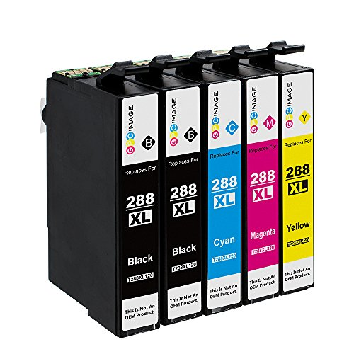 GPC Image 5 Pack Compatible Ink Cartridge Replacement for Epson 288 288XL High Yield (2 Black, 1 Cyan, 1 Magenta, 1 Yellow) for Epson Expression Home XP-330 XP-434 XP-430 Wireless Color Printers