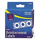 Avery Hole Reinforcements, White, 1000/Pack, PK