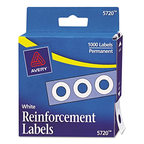Avery Hole Reinforcements, White, 1000/Pack, PK - AVE05720