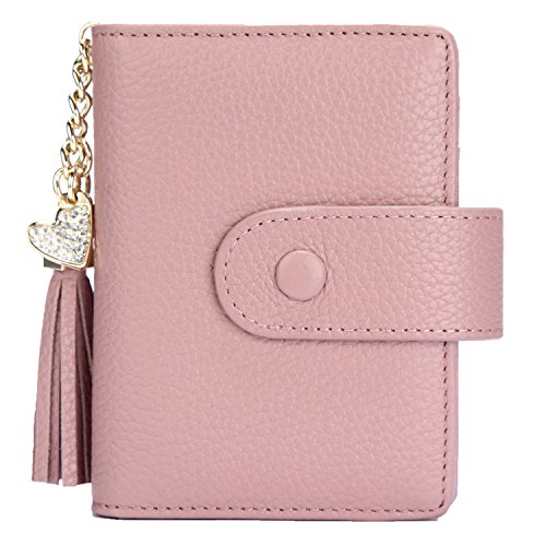 (Women's Mini Credit Card Case Wallet with ID Window and Zipper Holder purse ID Wallet (Pink-non))