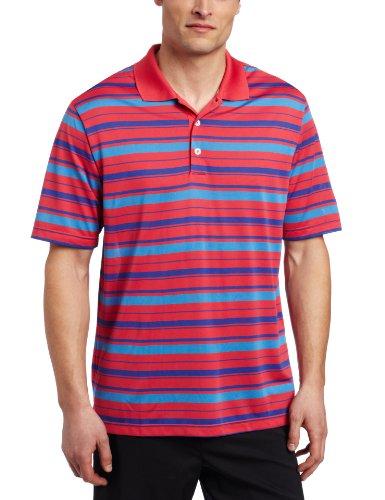 Bar Stripe Jersey Polo - adidas Golf Men's's Climalite Bar Stripe Polo, Punch/Blueberry, X-Large