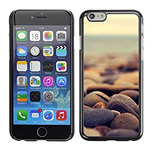 // PHONE CASE GIFT // Duro Estuche protector PC Cáscara Plástico Carcasa Funda Hard Protective Case for iPhone 6 / Piedras de la playa /