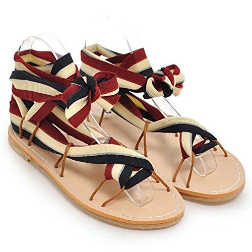 Mujer Sandalias Cruzado Zapatos Coolcept Black red RqpYYPx