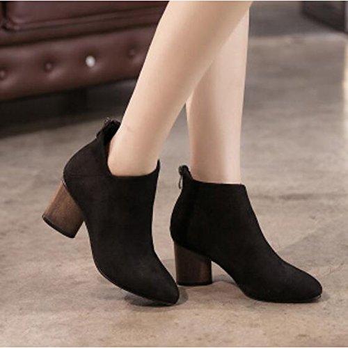 ZHZNVX HSXZ Zapatos de Mujer Otoño Invierno PU Confort Botas de Tacón Chunky Señaló Toe Botines/Botines for Casual Gris Negro,Negro,US6.5-7/UE37/UK4,5-5/CN37 37 EU