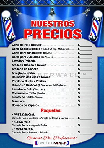 Barberwall® Barber Shop Price List by Barber Poster - Barber Shop Poster new style - Dimension 24 x 36 inches laminated, A barber shop price list in Spanish that YOU WILL LOVE!
