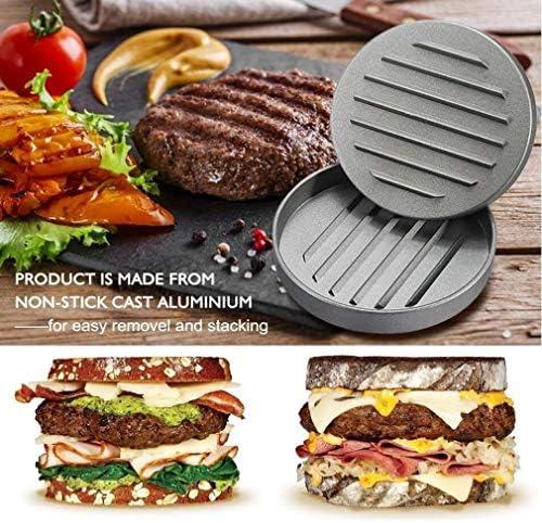 Presse à burger antiadhésive avec 50 disques en papier de cire GRATUIT, moule à hamburger en aluminium Patty Maker Press pour hamburger BBQ Grill