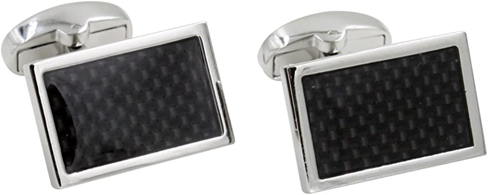 Glossy Black /& Silver Safedome Carbon Fiber Mens Cufflinks