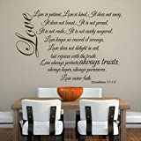 MairGwall Family Love Decal – Love Is Patient (Love Chapter) – Home Romantic Wall Decal Living Room Wall Sticker(Dark Brown, Large)