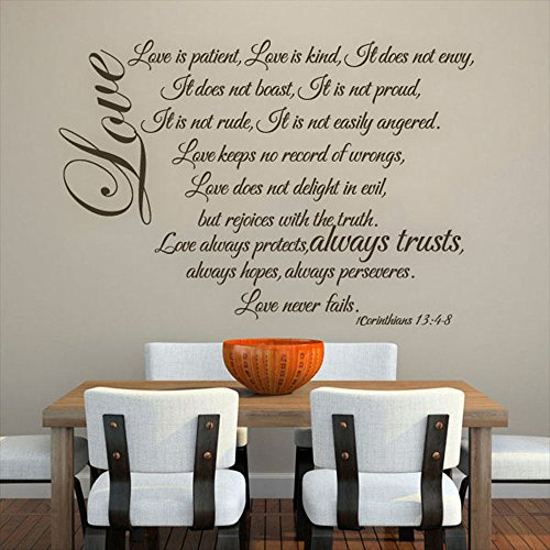 MairGwall Family Love Decal Love Is Patient...Romantic Wall Decal for Living Room,Dining Room(Black, 31''h x44''w) by MairGwall