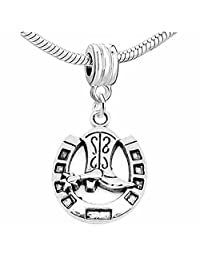 """""""Horse Shoe with Cowboy Boot """" Dangle Charm For Snake Chain Charm Bracelet"""