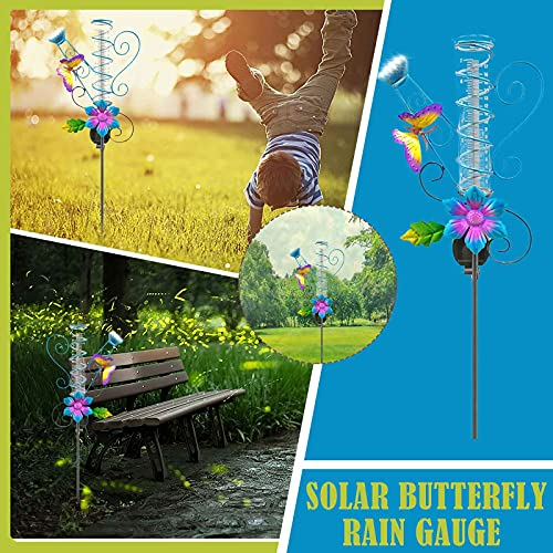 Ymibull Solar Rain Gauge Butterfly Garden Stakes Outdoor, Garden Outdoor Control Sensor on Light Purple Flower with Butterfly Decor