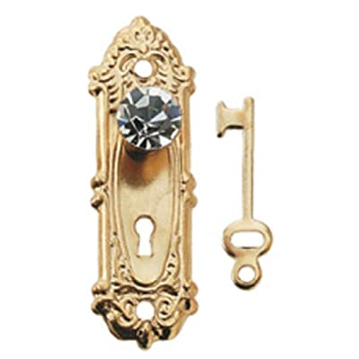 Dollhouse Miniature Crystal Opryland Doorknob w/Plate & Key by Houseworks: Toys & Games