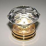 Top Grade K9 Crystal Copper Furniture Knobs Gold Kitchen Cabinet Pulls Door Dressers Pull Knob Pack of 2