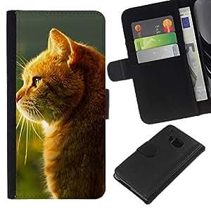 All Phone Most Case / Oferta Especial Cáscara Funda de cuero Monedero Cubierta de proteccion Caso / Wallet Case for HTC One M9 // Orange Cat Shine