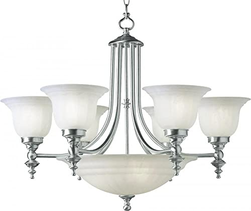 Dolan Designs 665-09 6 3Lt Satin Nickel Richland 9 Light Bowl Chandelier