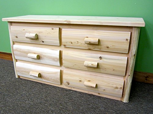 - Midwest Log Furniture - Premium Log Dresser - 6 Drawer