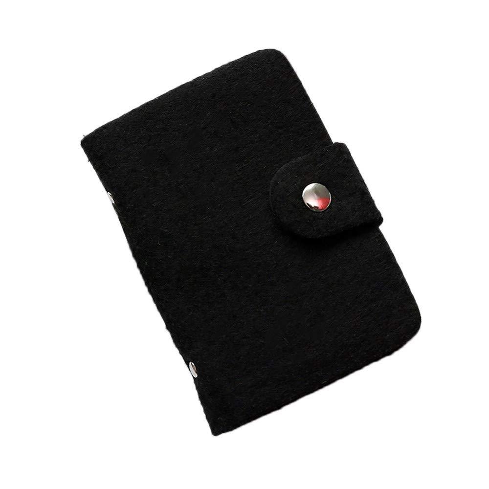 Pulison Men's Wallet Leather Credit Card Holder Blocking Zipper Thin Pocket RFID Front Pocket Wallet Minimalist Secure Thin Credit Card Holder (Black)