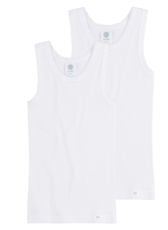 Sanetta Mädchen Unterhemd mit Breiten Trägern im Doppelpack aus Biobaumwolle - Made in Europe
